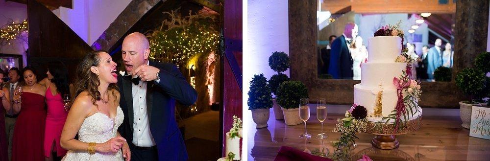 groom feeds bride cake at hans fahden winery wedding