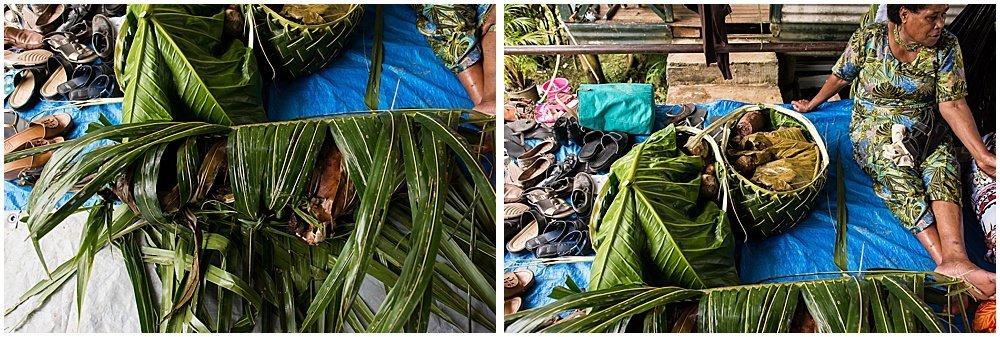 preparing palm leaves at traditional fijian wedding