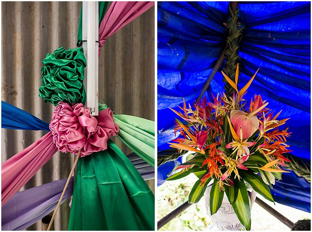 Vibrant ribbon and floral decor for the Traditional Fijian Wedding by Chloe Jackman Photography