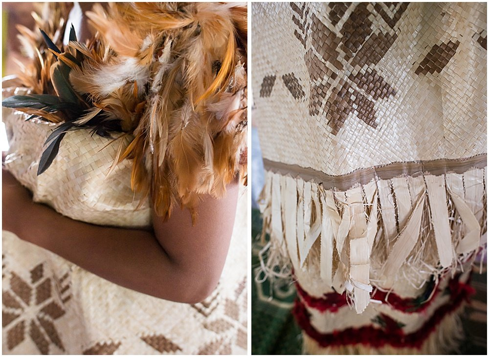 Traditional Fijian Wedding garment exhibiting feathers and straw woven fabric by Chloe Jackman Photography