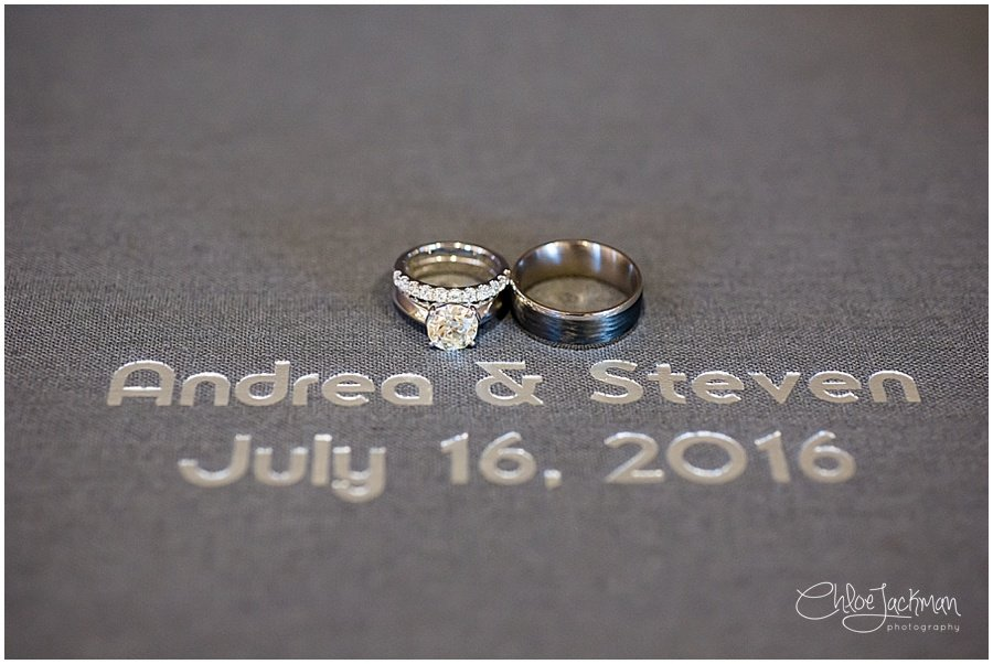 wedding rings with wedding date on paper