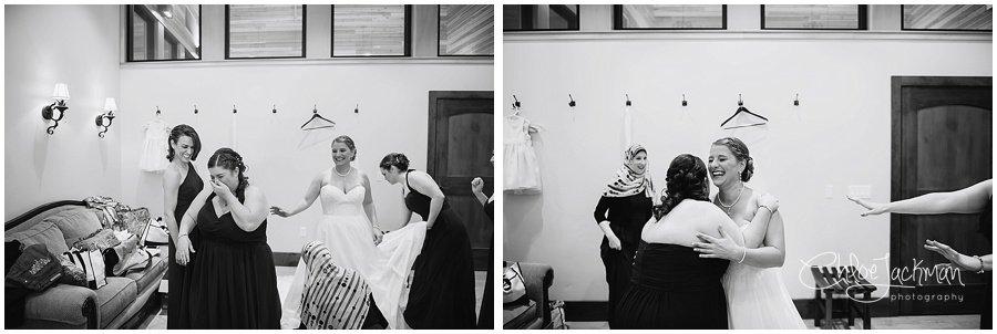 bride and bridesmaids embracing