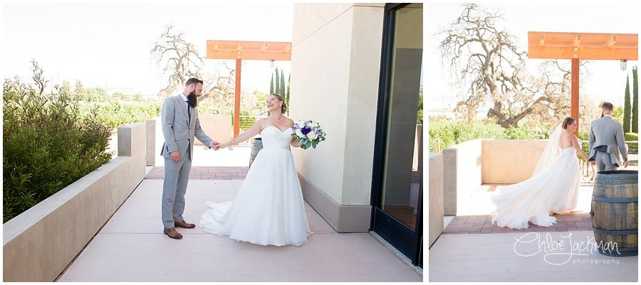 bride and groom first look outside of Garre Winery Wedding in Livermore