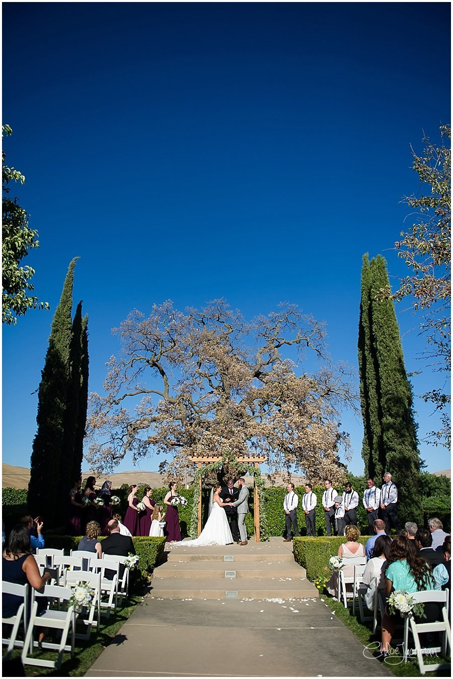bride and groom at the altar at their outdoor Garre Winery Wedding in Livermore