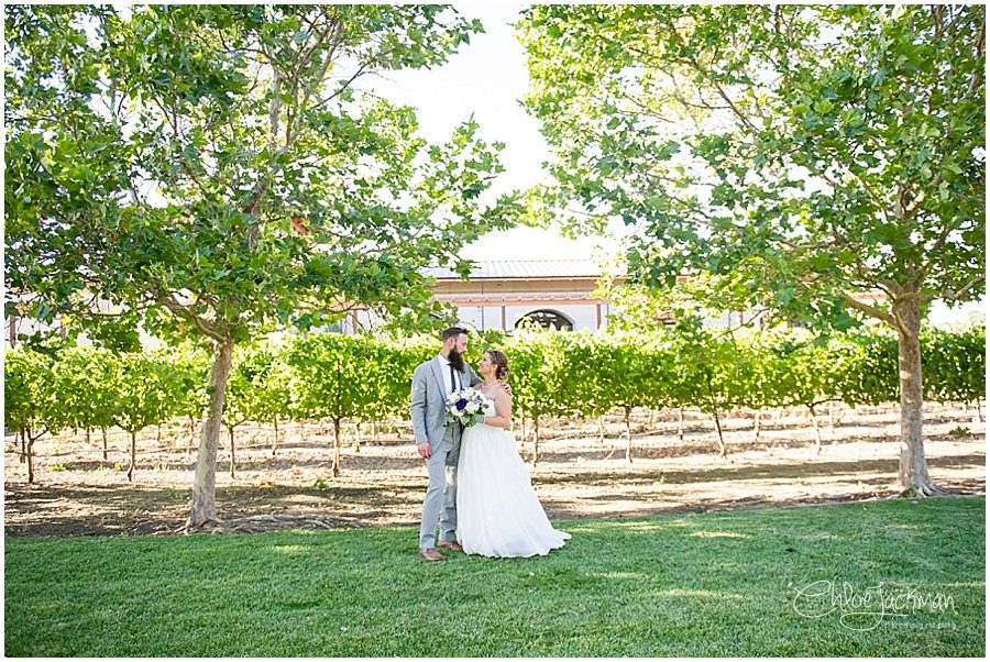 Bride and Groom Outside at Garre Winery Wedding in Livermore