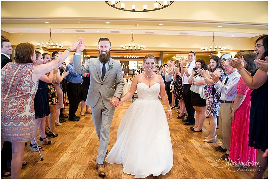 bride and groom enter reception at Garre Winery Wedding in Livermore