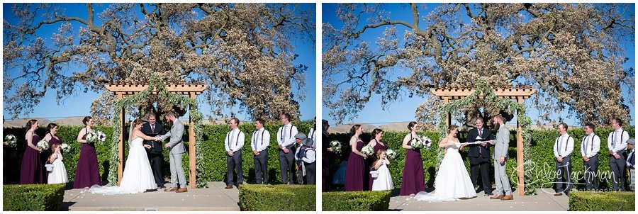 bride and groom at the altar performing a knot ceremony at their outdoor Garre Winery Wedding in Livermore