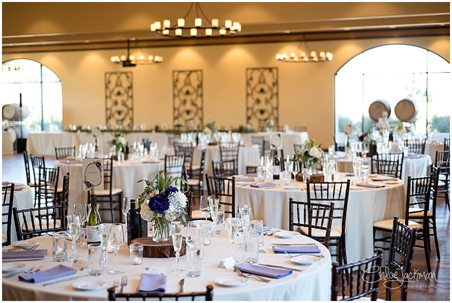 interior Garre Winery Wedding in Livermore with wedding flowers by Delford West Flowers