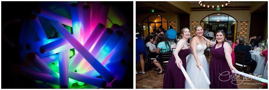wedding glow sticks and bride