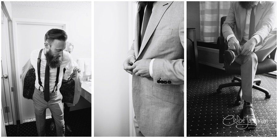 close ups of groom getting ready for wedding