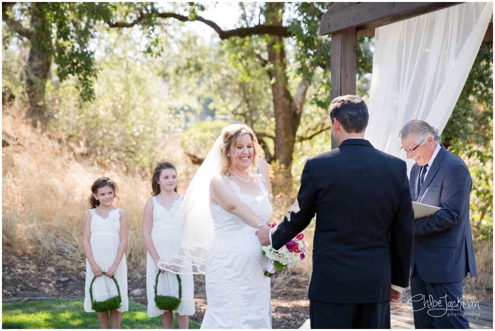 bride and groom at the altar at highlands estate wedding in cloverdale