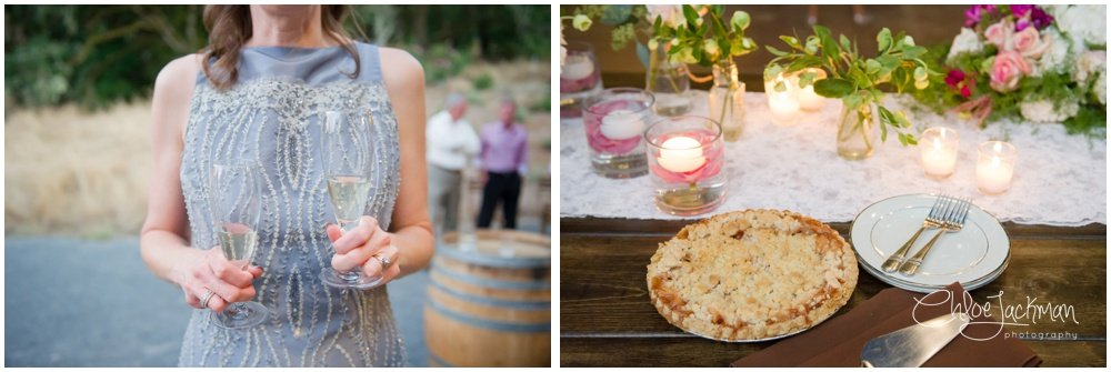 champagne and wedding pie