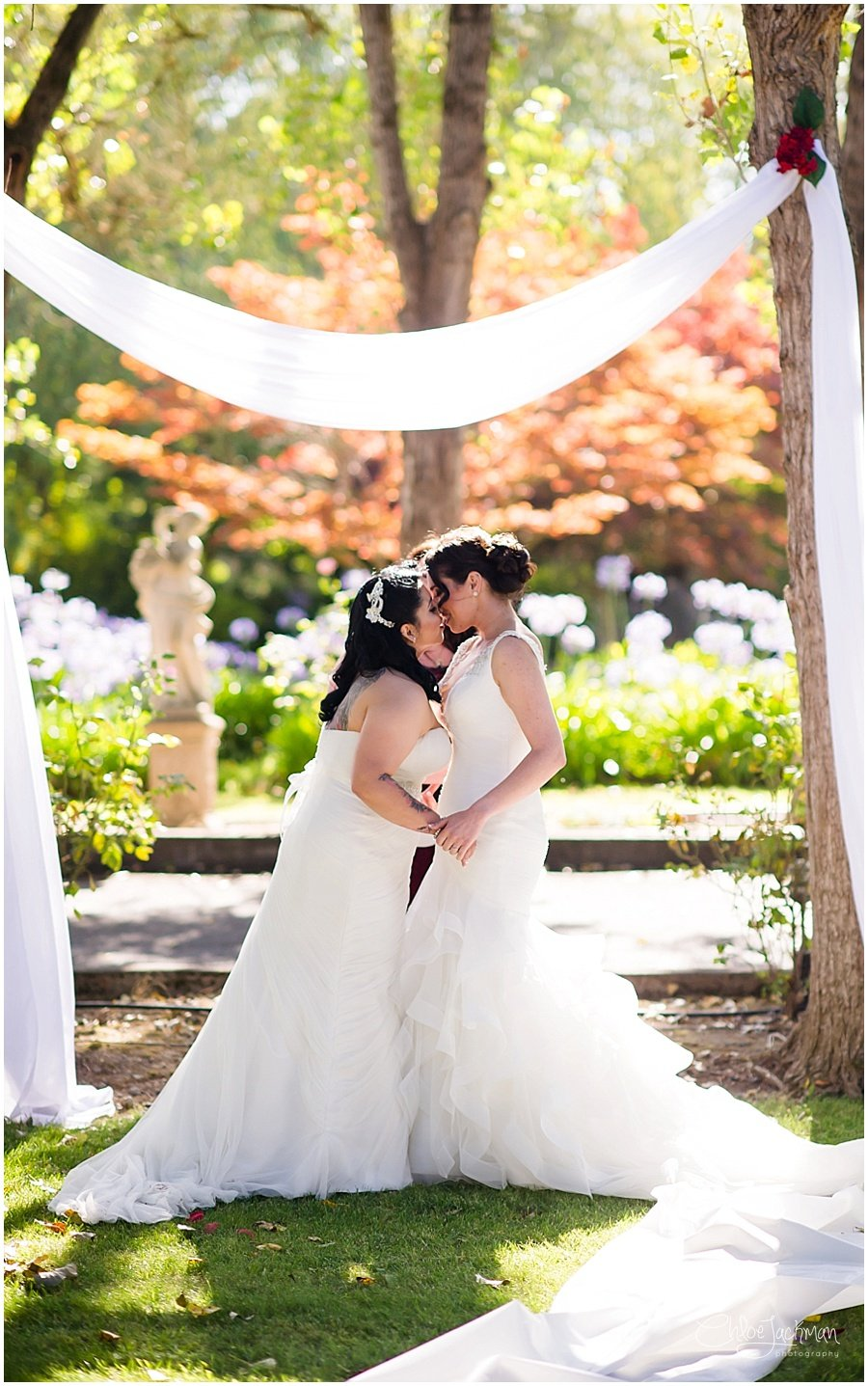 same sex wedding brides first kiss
