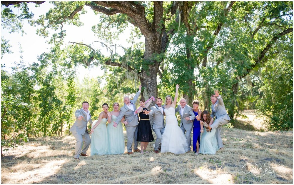 wedding party having fun at solage calistoga wedding
