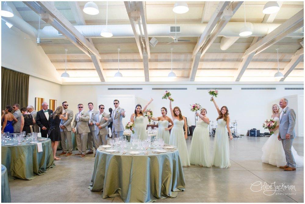 wedding party having fun