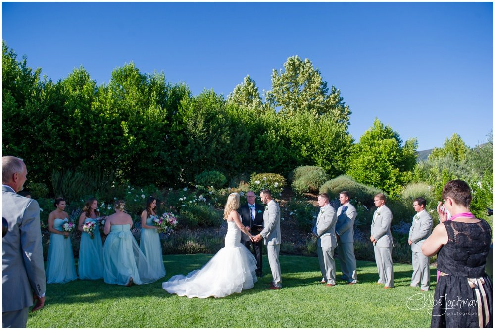 bride and groom at the altar at their solage calistoga wedding