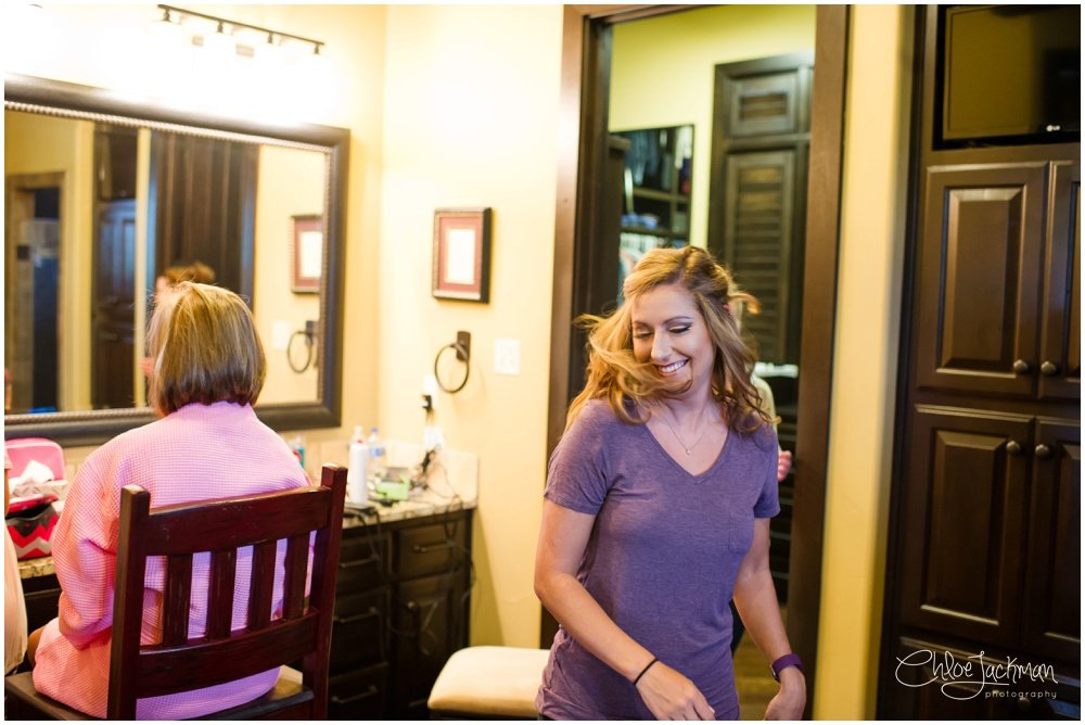 bride getting ready for texas wedding