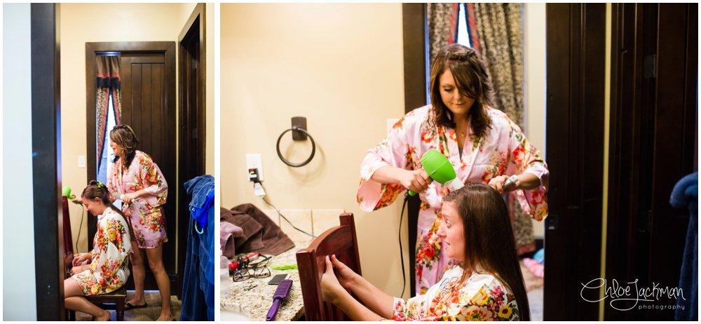 bride getting ready for texas wedding