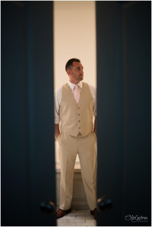 groom getting ready for texas wedding