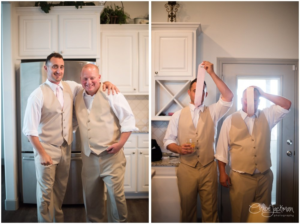 groom and father being silly