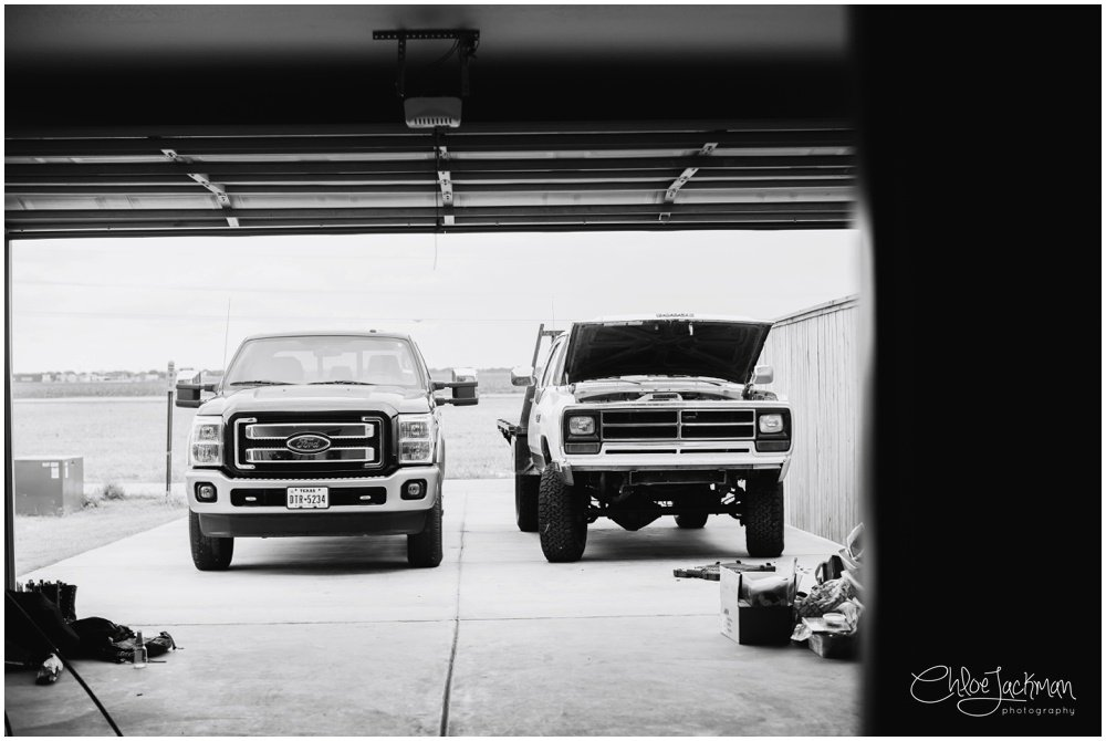 big texas trucks in garage