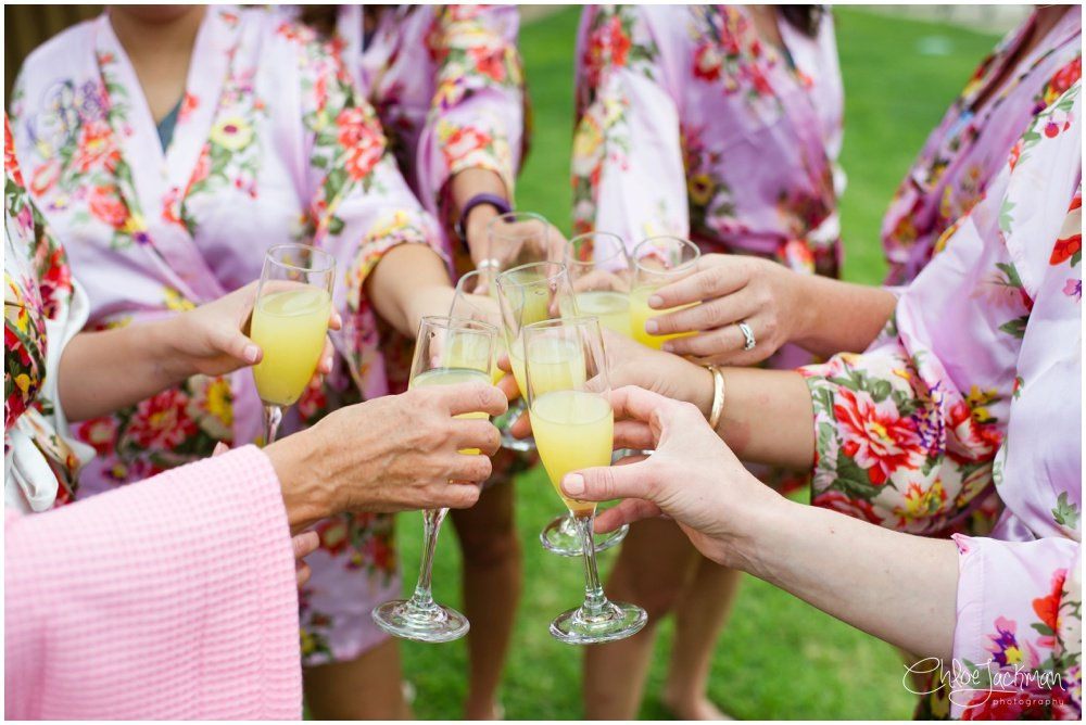 bride and bridesmaids cheers