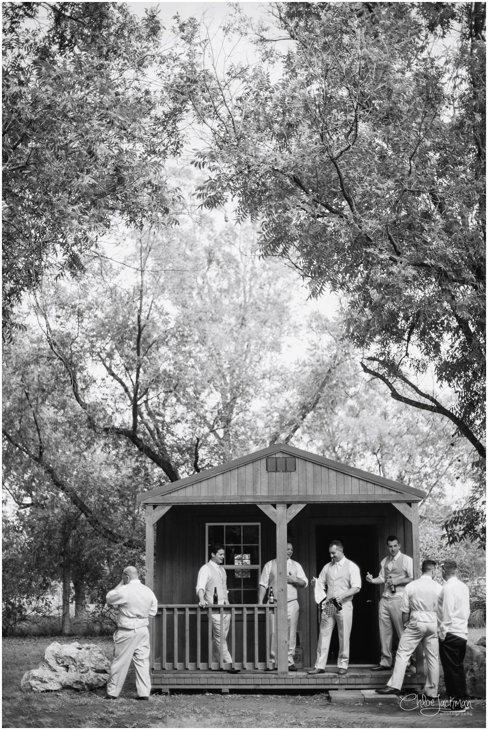 groom and groomsmen at fulford barn wedding in texas