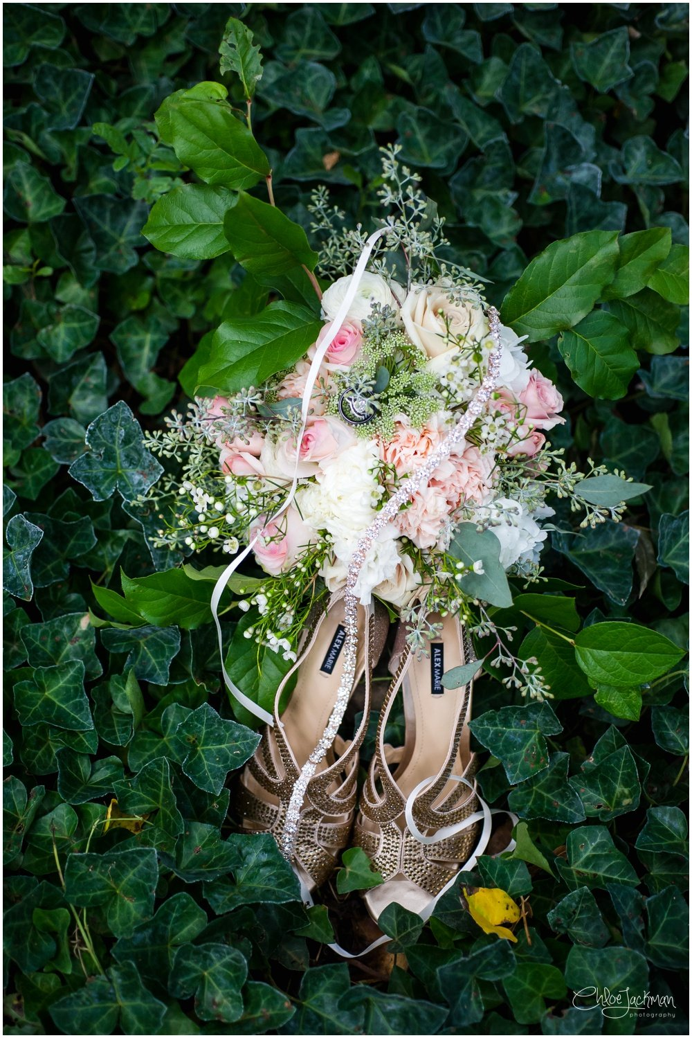 wedding bouquet and shoes in vines