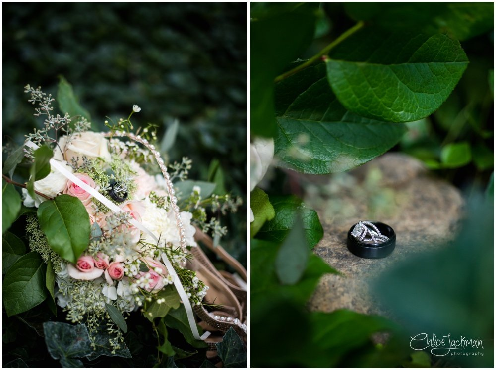 wedding bouquet and wedding rings in vines