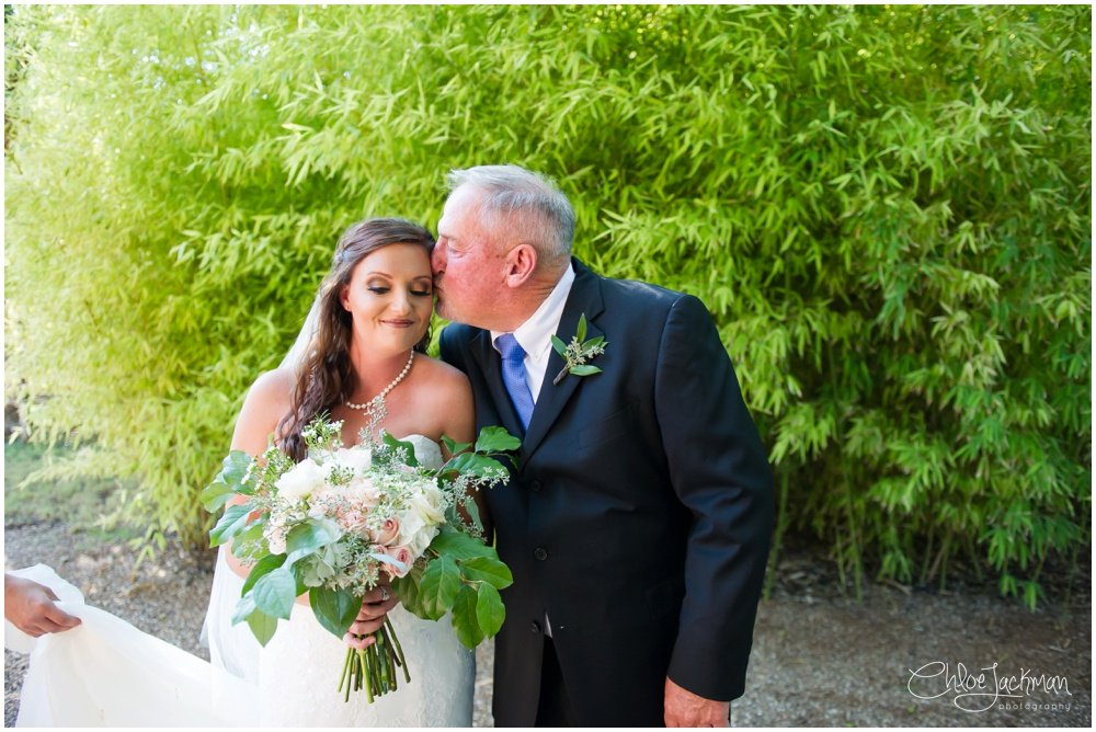bride and father of the bride at fulford barn wedding in texas