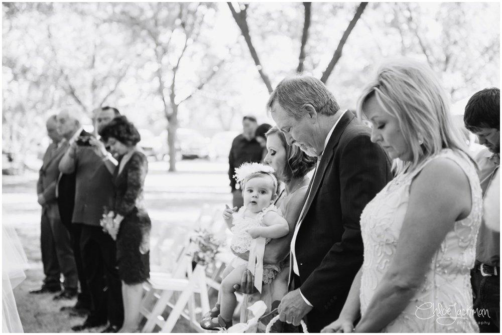 wedding guests praying