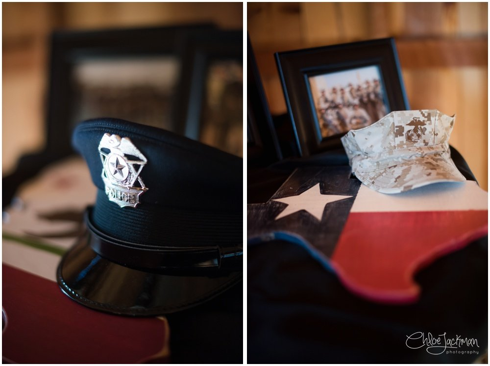 military hats at texas wedding
