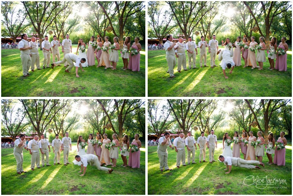 wedding party outside at fulford barn wedding in texas
