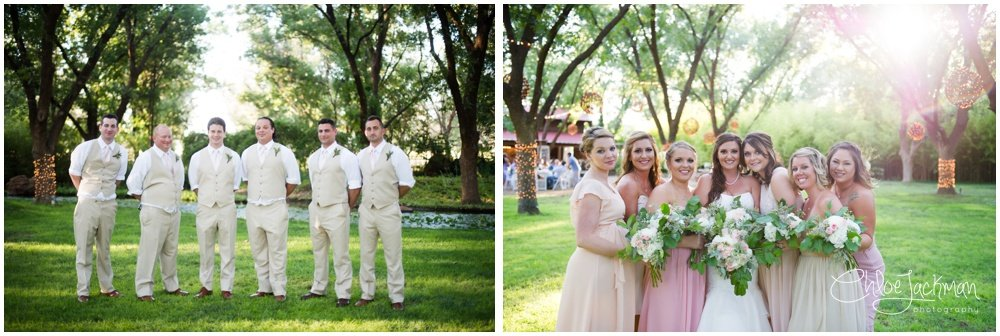 wedding party outside at fulford barn wedding in texas