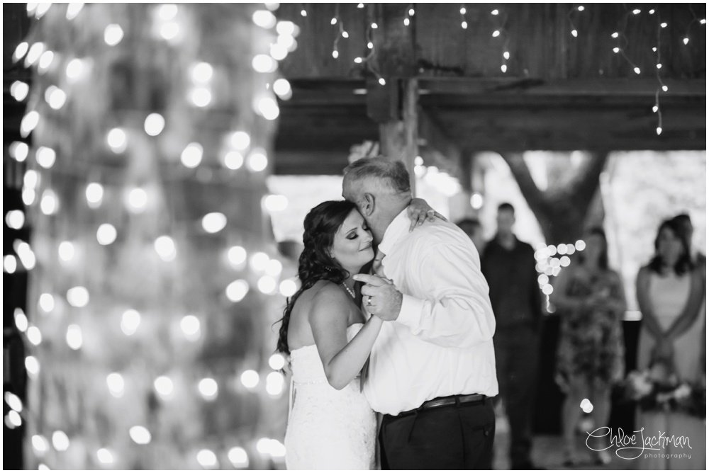bride and father dance at fulford barn wedding in texas