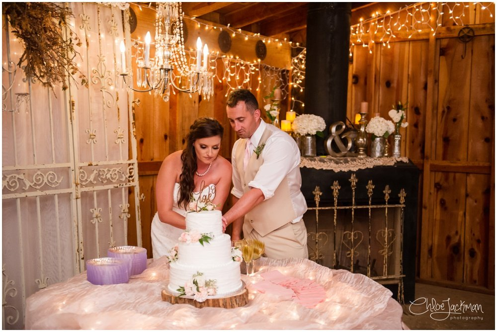 bride and groom cutting wedding cake at bride and father dance at fulford barn wedding in texas