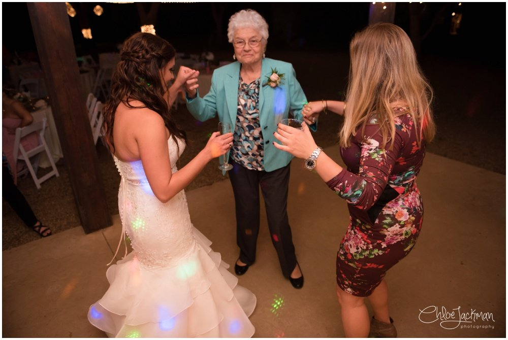 bride dancing with grandmother at fulford barn wedding in texas