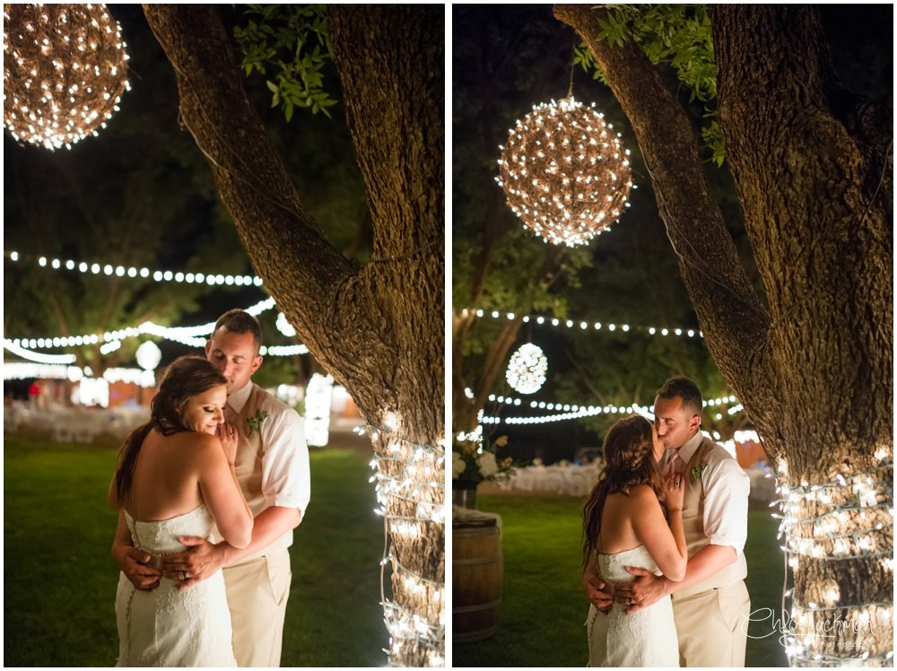 bride and groom embracing outside at fulford barn wedding in texas