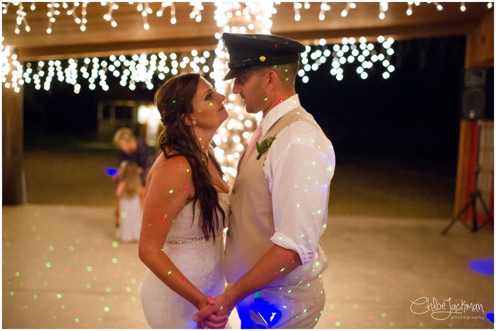 bride and groom dancing at fulford barn wedding in texas