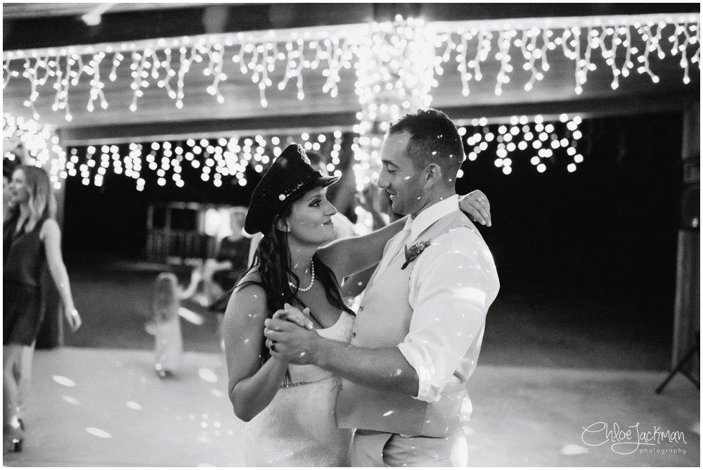 bride and groom dancing at fulford barn wedding in texas
