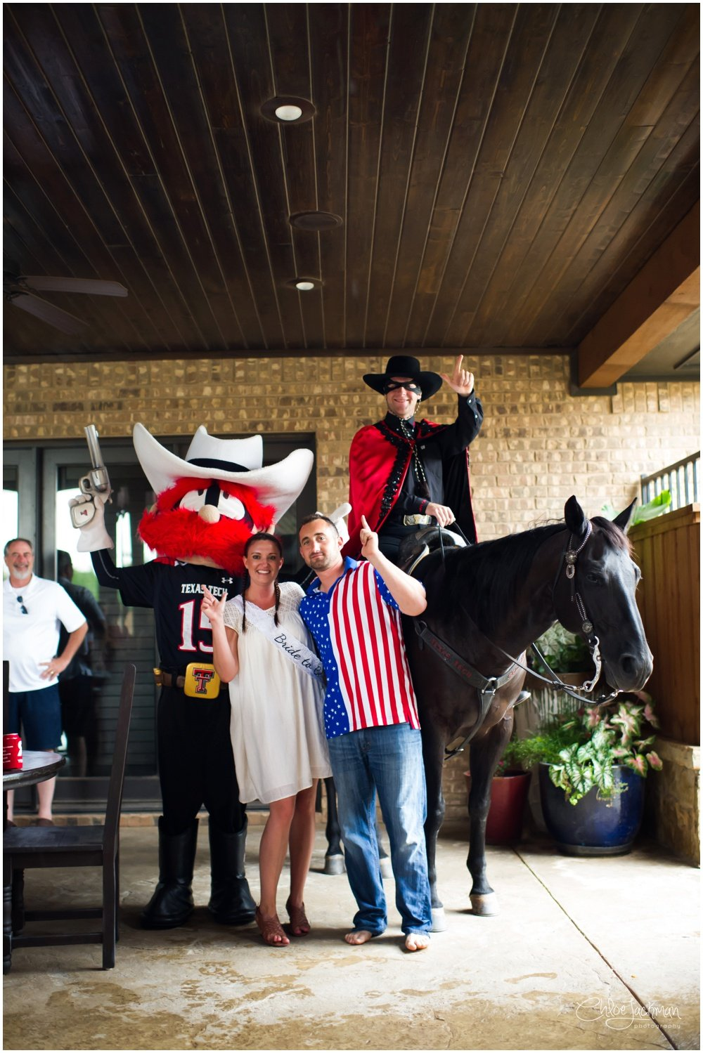 texas tech university Masked Rider and Raider Red mascots with bride and groom