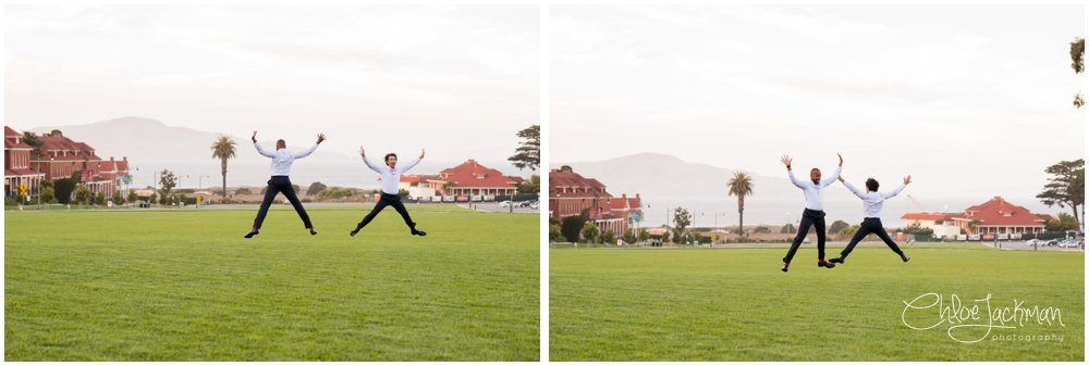 grooms having fun in the presidio san francisco