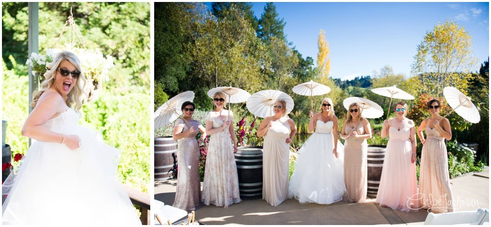 bride and bridesmaids at hans fahden wedding in calistoga