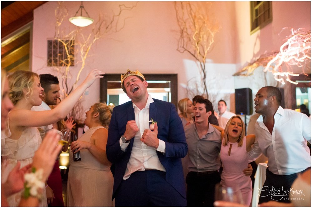 groom singing and dancing