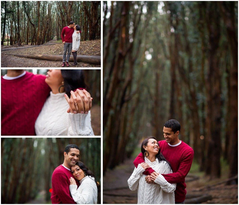Rainy Day Engagement Photos San Francisco Eucalyptus Grove
