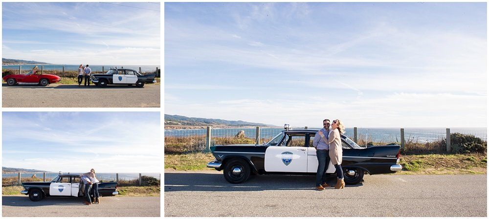 She nailed him! Vintage Cop Car Engagement Session