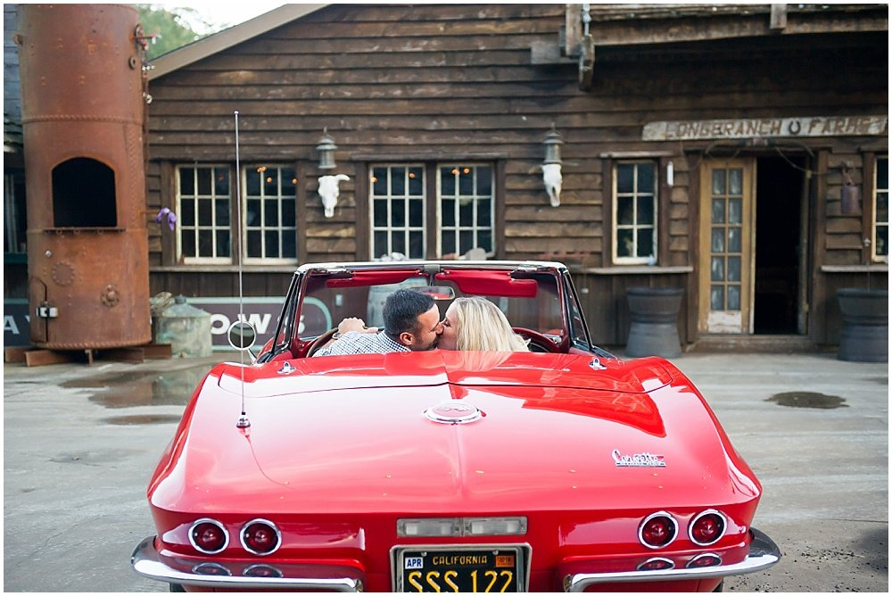 Classic Red Corvette Engagement Photo