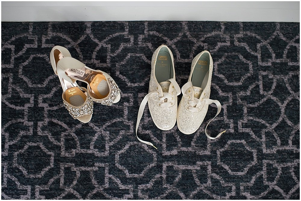 Badgley Mischka shoes for Claremont Hotel Wedding