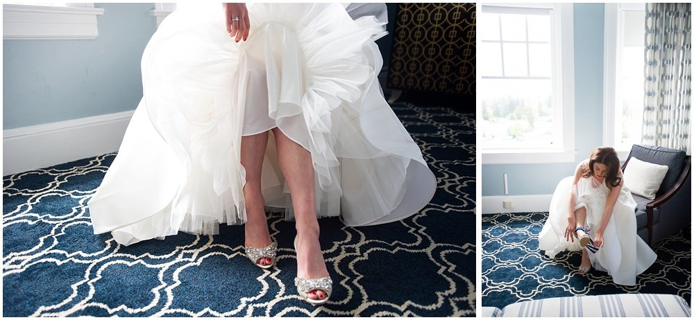 Bride puts on Badgley Mischka shoes before Claremont Hotel Wedding