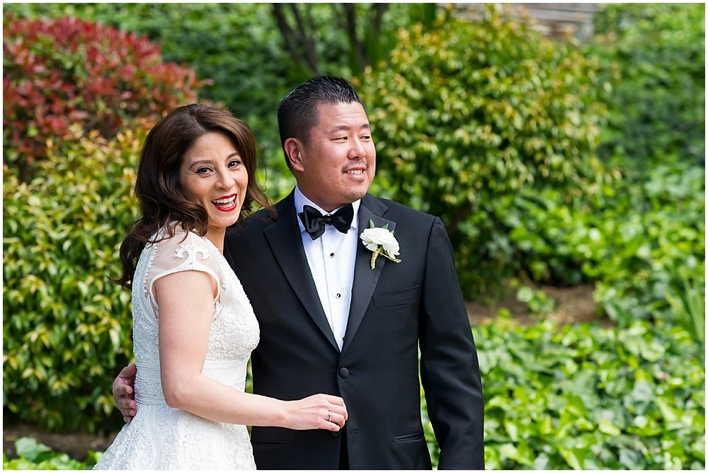 Bride and groom smile before Claremont Hotel wedding by Chloe Jackman Photography
